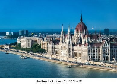 View of Parliament building in Budapest, Hungary from the opposite bank of the Danube river