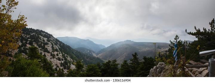 View of Parnitha mountain from Bafi refuge in Aharnes, Attiki, Greece