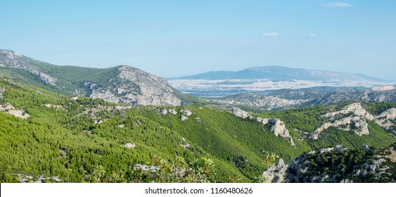 View from the Parnitha mountain at the city of Athens.Panoramic photo.