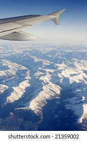 A view of a part of the Alps (Central Europe) from an airplane
