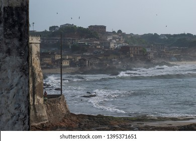 View of part of Cape coast Ghana. The photo taken from the castle where slave trade was part of the country.