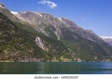 View to the part of the Folgefonna National Park near Odda. The municipality is located in southeastern Hordaland county, Norway. Odda municipality is very mountainous.