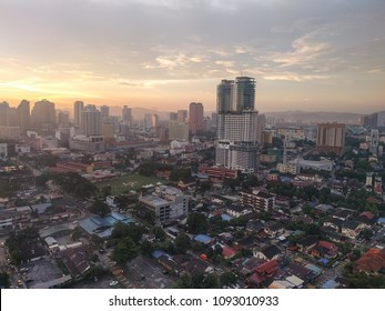 A view of part of the Kuala Lumpur Skyline at sunset.