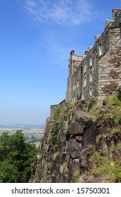 A view of part of Stirling Castle, Scotland, against a blue sky.