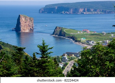 View of part of the town of Percé,Percé Rock with the left, and Bonaventure Island in the background. (This image was taken at the top of the mountain before entering the city of Percé).Quebec,Canada