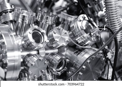 View of part of an ultra-high vacuum chamber of a high performance X-ray photoelectron spectrometer for photoelectron spectroscopy (XPS) and parallel imaging (imaging XPS)