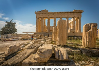 View of the Parthenon during late afternoon sunlight,  The Acropolis, Athens, Greece, Europe 13 October 2017