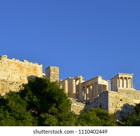 View of the Parthenon exterior from Areopagus Hill in Athens, Greece