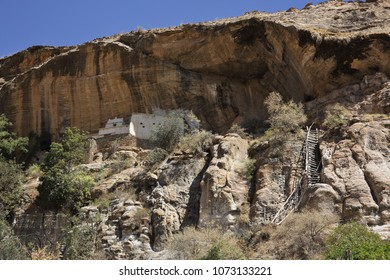 View of the partially stone-hewn church of Petros We Paulos (Petros Teftsame Semaet) in the Tigray region of Ethiopia