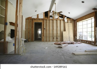 View of partition wall in house under renovation