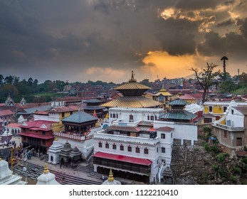 View at Pashupatinath main complex from riverside during the sunset