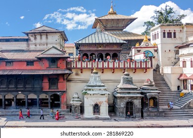 View of the Pashupatinath Temple from across the Bagmati River in Kathmandu
