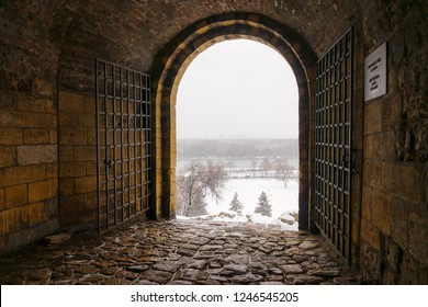 view from the passage on the fort under the snow