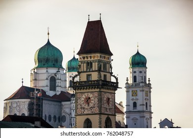 View of Passau with Danube river, embankment and cathedral, Bava