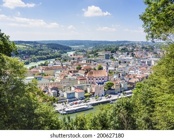 View to Passau in Germany with river Danube and Inn in Summer