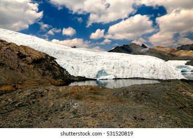 View of The Pastoruri glacier, Peru. It's a cirque glacier, located in the southern part of the Cordillera Blanca in Peru. It is one of the few glaciers left in the tropical areas of South America.