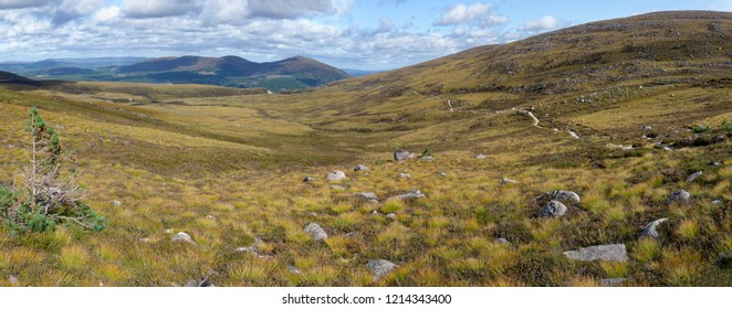 View from path to Coire an Lochain, Glen More with Craiggowrie, Creagan Gorm, and Meall a Bhuachaille