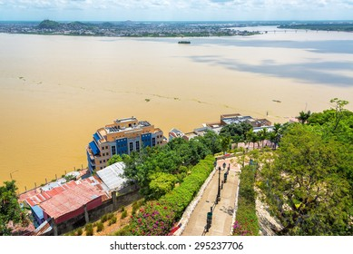 View of a path and the Guayas River from Santa Ana hill in Guayaquil, Ecuador