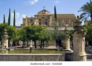 """View of the Patio de los Naranjos at the Mezquita of Cordoba. The mezquita, or now """"Cordoba Cathedral"""", was once the second largest mosque in the world."""
