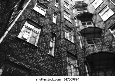 View up from a patio in Warsaw ghetto