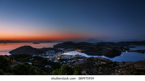 View of Patmos island after sunset