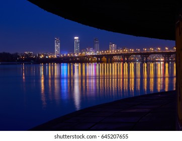 View to Paton bridge in Kiev, Ukraine