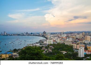 View of pattaya city beach at Pratumnak Viewpoint, Pattaya, Thailand