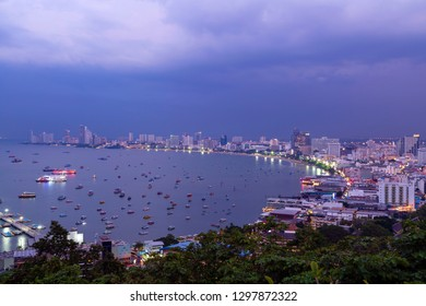 View of Pattaya City skyline and cityscape from Pattaya Viewpoint (Khao Pattaya View Point) on Pratumnak Hill  at dusk in Pattaya, Chonburi, Thailand.