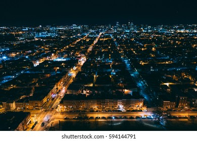 View of the Patterson Park neighborhood at night, in Baltimore, Maryland.
