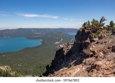 View of Paulina Lake and East Lake from Paulina Peak in the Newberry National Volcanic Monument