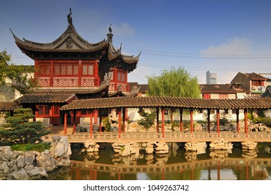View of the Pavilion of Listening to Billows, Yu Garden or Yuyuan Garden an extensive Chinese garden located beside the City God Temple in the northeast of the Old City of Shanghai, China.