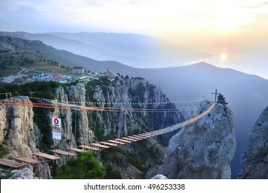 View of peak Ai-Petri and  main area in Ai-Petri and cablewa (morning). Russia. Crimea. Main ridge of Crimean mountains. An array Ai-Petri Yayla.