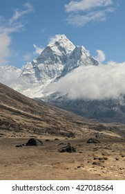 View of peak Ama Dablam and village Periche - Mt/ Everest region, Nepal