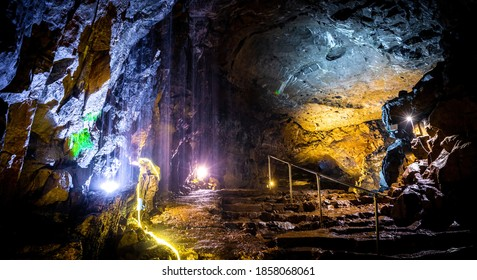 View of the Peak Cavern, also known as the Devil's Arse, in Castleton, Derbyshire, England, UK