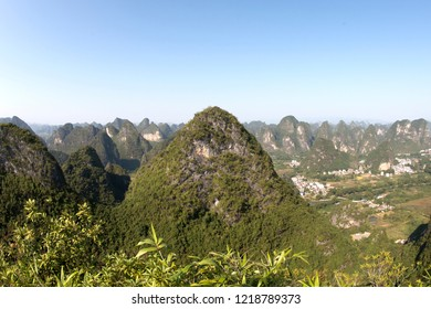 View from the peak of the Moon Hill  one of the top ten sightseeing attractions of China, Yangshuo, Guilin