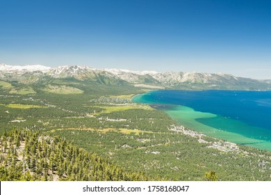 View from the peak of a mountain in lake tahoe