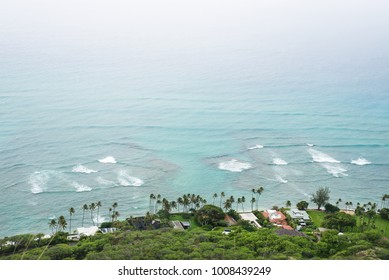 view from the peak point of Diamond Head crater on a rainy and windy day, Oahu, Hawaii, US