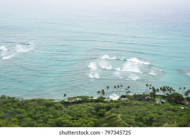 view from the peak point of Diamond Head crater in a rainy and windy day, Oahu, Hawaii, US