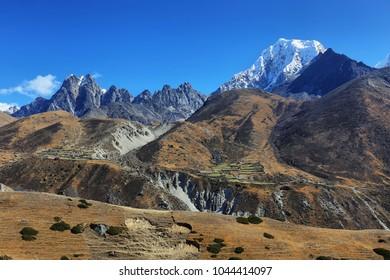 View of peak range near Macchermo in EBC hiking trail, Nepal