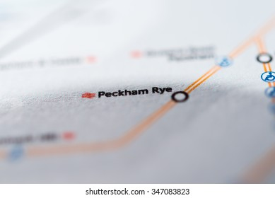 View of Peckham Rye station on a London underground map