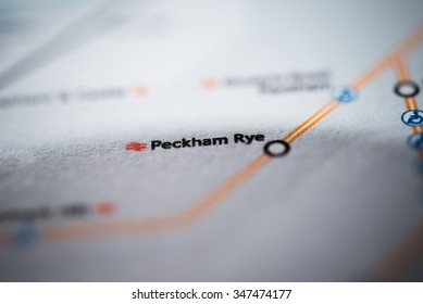 View of Peckham Rye station on a London underground map. (vignette)