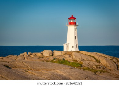 View of Peggy's Cove lighthouse at sunrise, Nova Scotia, Canada