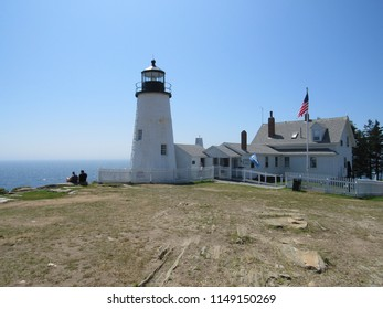 View Of Pemaquid Point Lighthouse Located In Bristol, Maine