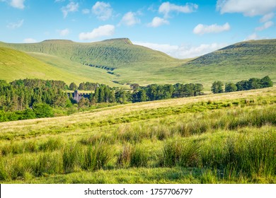 View to Pen y Fan -  the highest peak in south Wales, situated in the Brecon Beacons National Park. Copy space in sky.