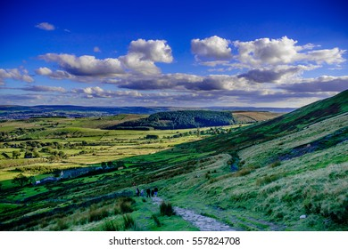 A View from Pendle Hill, south, Summer, blue sky and white clouds, Forest Of Bowland, Lancashire, England, UK