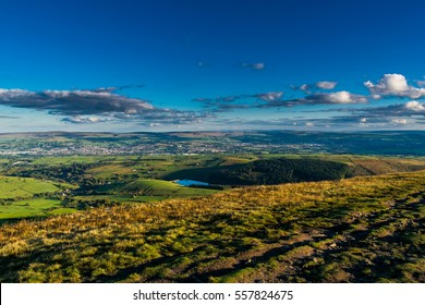 A View from Pendle Hill, south-east, Summer, blue sky and white clouds, Forest Of Bowland, Lancashire, England, UK