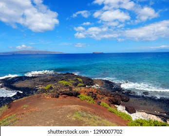 View from peninsula between big beach and little beach, Makena state park, maui, Hawaii