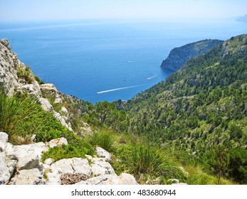 view from peninsula victoria to famous bay coll baix, north of majorca, spain