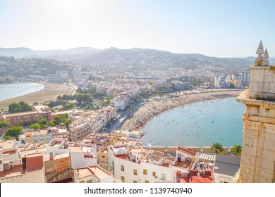 View of the Peniscola town Valencia, Spain. Tourism, spanish landscape with deep blue sea and mediterranean  architecture