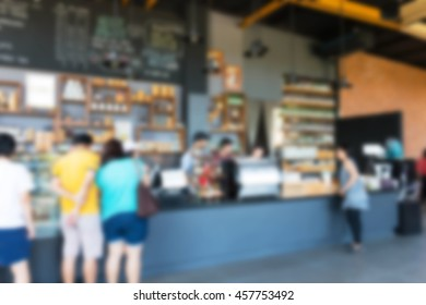 view people inside busy coffee shop